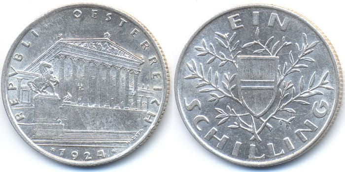 монета из серебра 1 шиллинг 1924 года