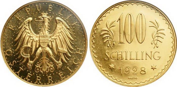 100 Австрийских шиллингов из золота