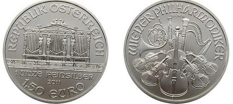 вид серебряной монеты Венской филармонии