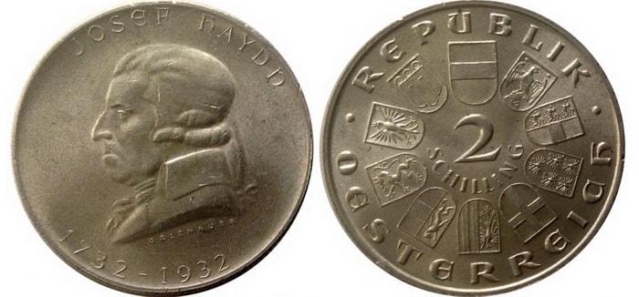 два шиллинга с изображением Йозефа Гайдна