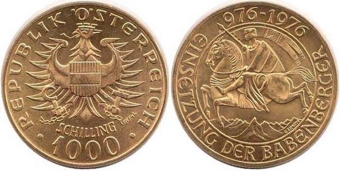 золотая монета номиналом 1000 шиллингов