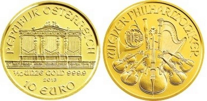 золотая монета 10 евро