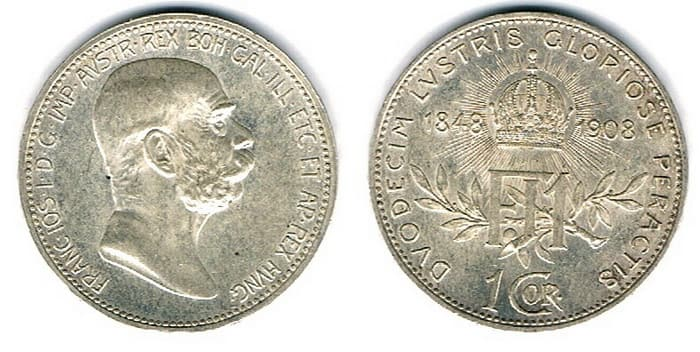 серебряная монета 1 крона