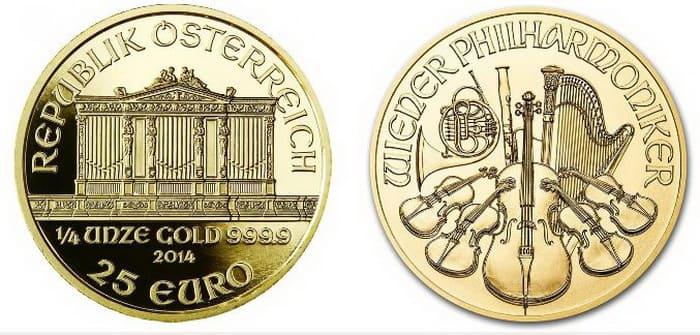 золотая монета 25 евро