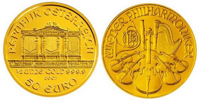 монета из золота 50 евро