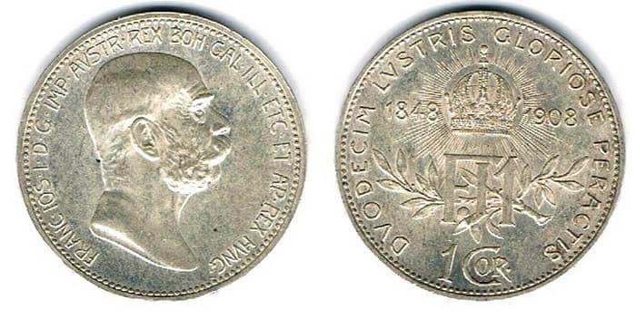 1 corona 1908 silver