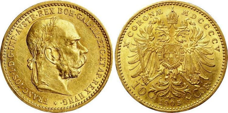 10 gold coronas 1892, 1893, 1896, 1897, 1905, 1906