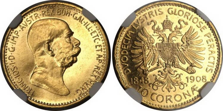 10 gold coronas 1908