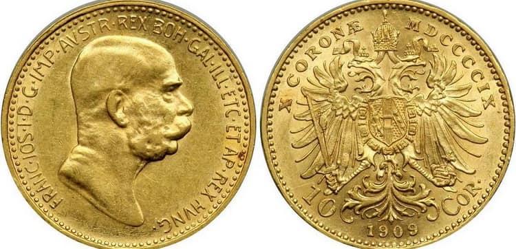 10 gold coronas 1909