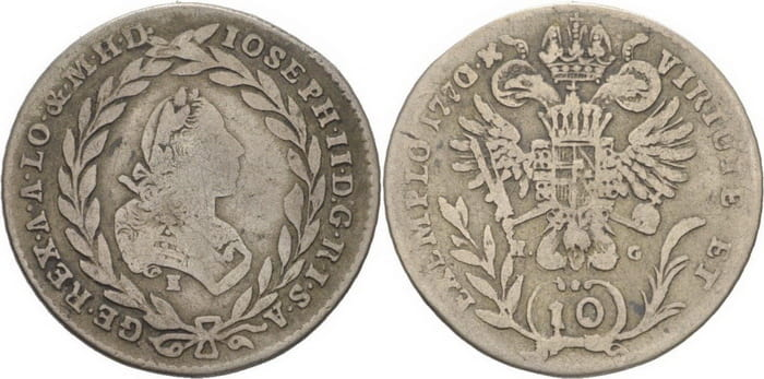 10 silver kreuzers 1770
