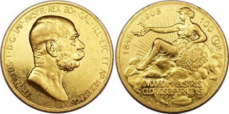 100 gold coronas 1908