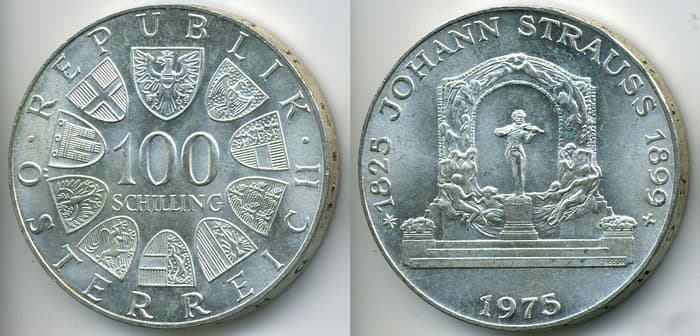 100 silver shillings 1975