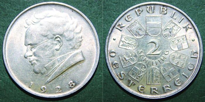 2 silver shillings1928