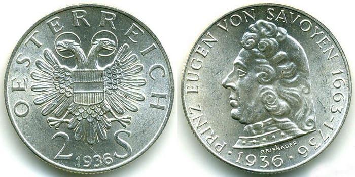 2 silver shillings1936