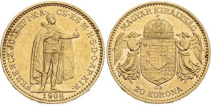 20 coronas 1908 Hungarian type