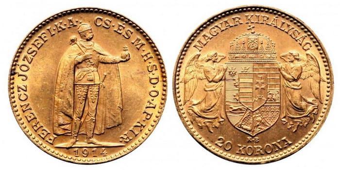 20 coronas 1914 Hungarian type