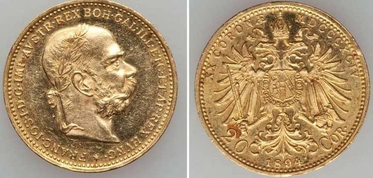 20 gold coronas 1892-1905