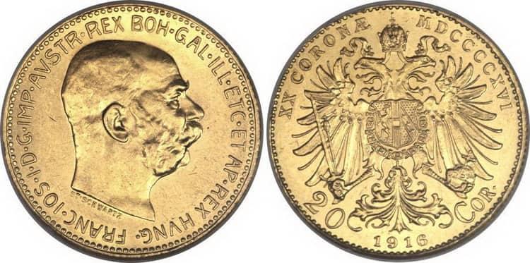 20 gold coronas 1916