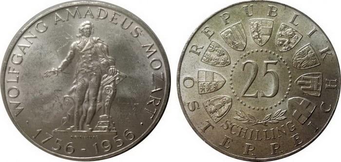 25 silver shillings 1956