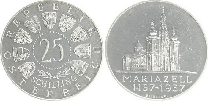 25 silver shillings 1957