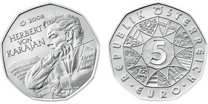 5 евро из серебра