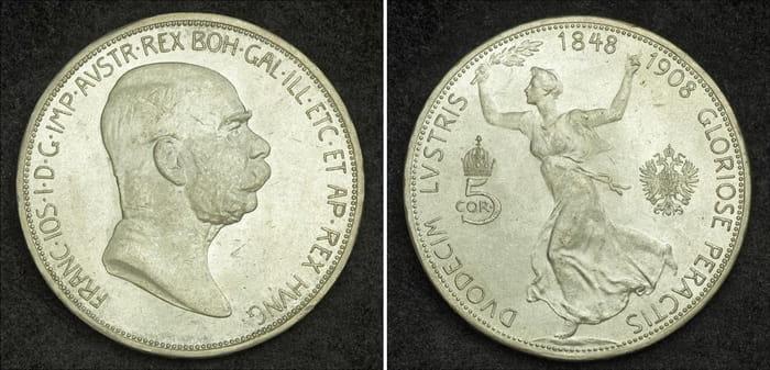 5 coronas 1908 silver