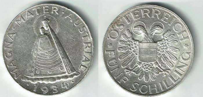 5 shillings 1934-1936