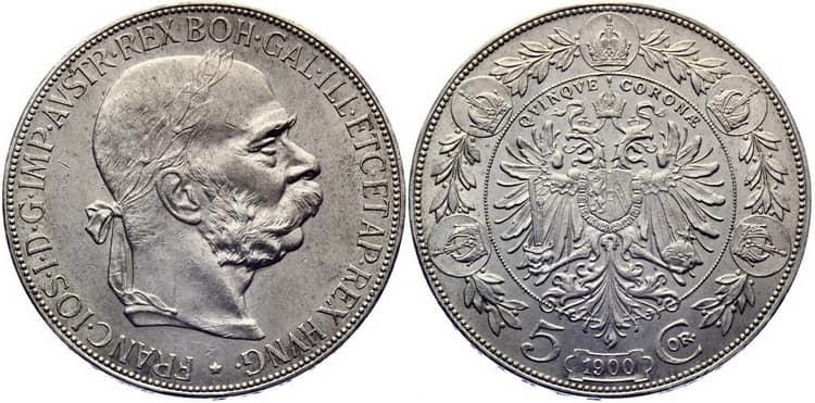 5 silver coronas 1900 1907