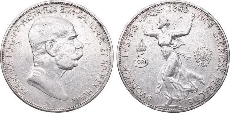 5 silver coronas 1908