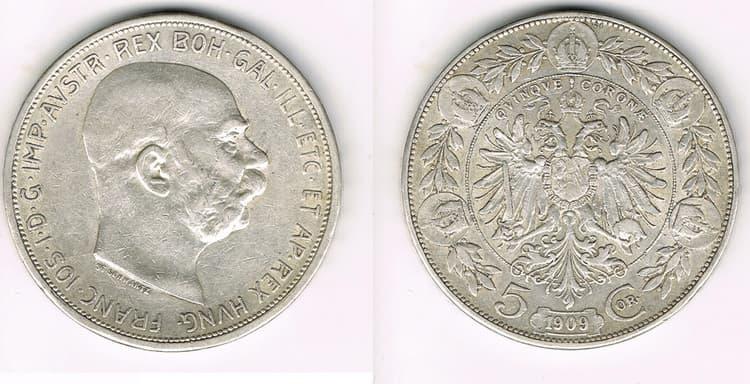 5 silver coronas 1909