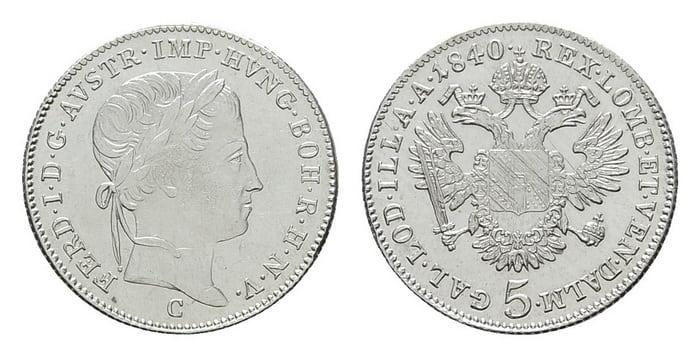 5 silver kreuzers 1840