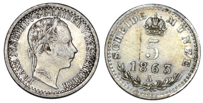 5 silver kreuzers 1863