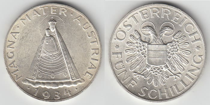5 silver shillings