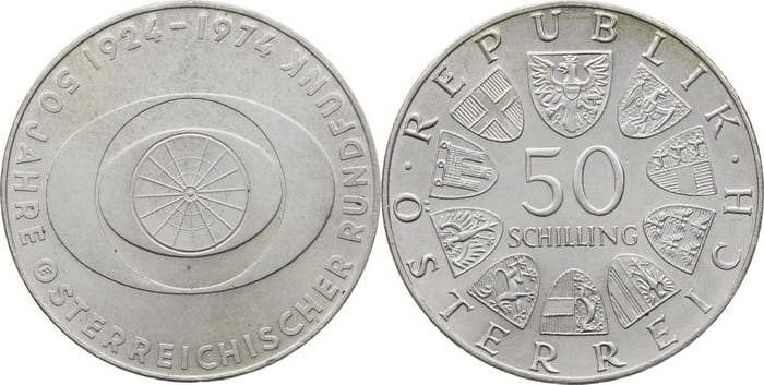 50 silver shillings 1974