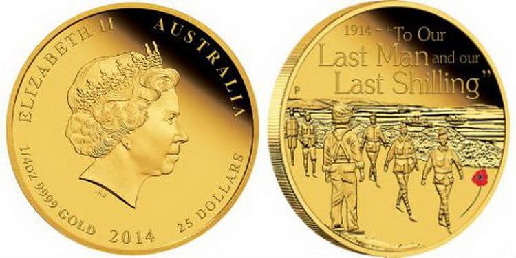 Австралийская монета посвященная воинскому формированию Австралии и Новой Зеландии