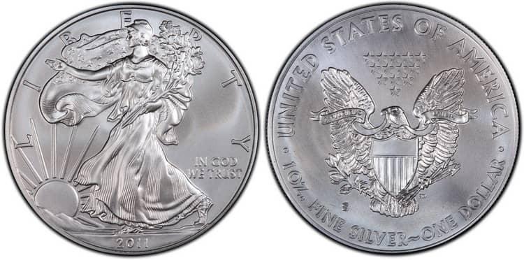 Американская серебряная монета 2011г