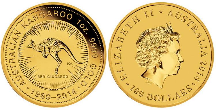 Золотая монета кенгуру в 100 долларов 2011г
