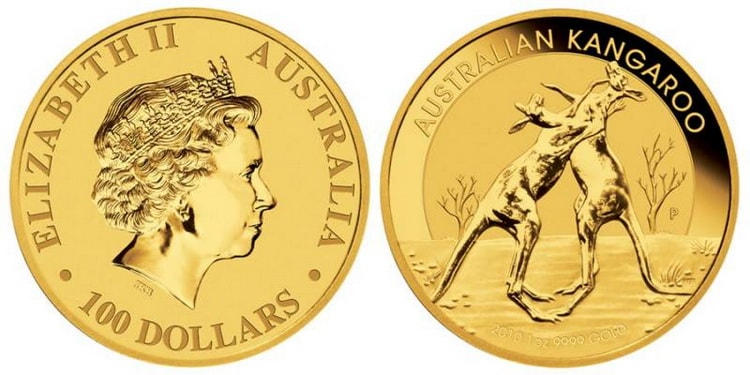 Золотая монета кенгуру в 100 долларов