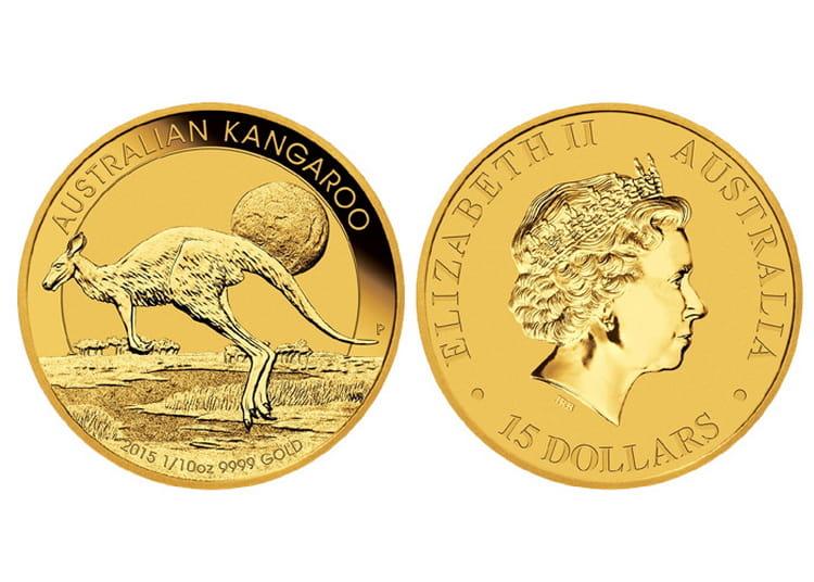 Золотая монета кенгуру в 15 долларов 2015 г.