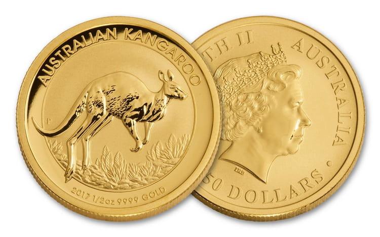 Золотая монета кенгуру в 25 долларов 2017 г.