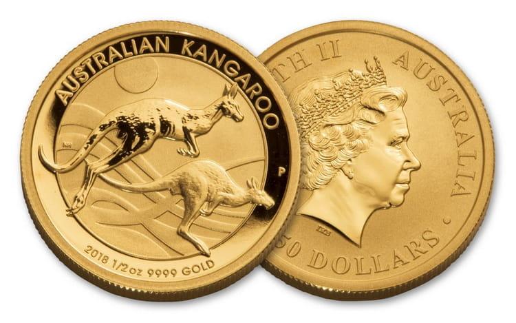 Золотая монета кенгуру в 25 долларов 2018г