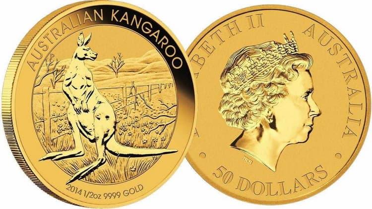 Золотая монета кенгуру в 25 долларов 2014 г.
