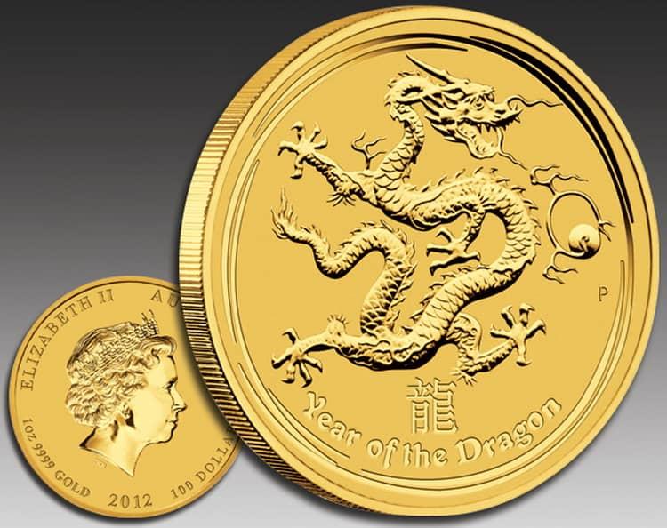 Золотая монета с Драконом