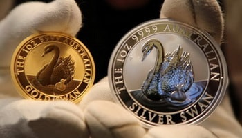 Australian gold and silver coins of the Swan series