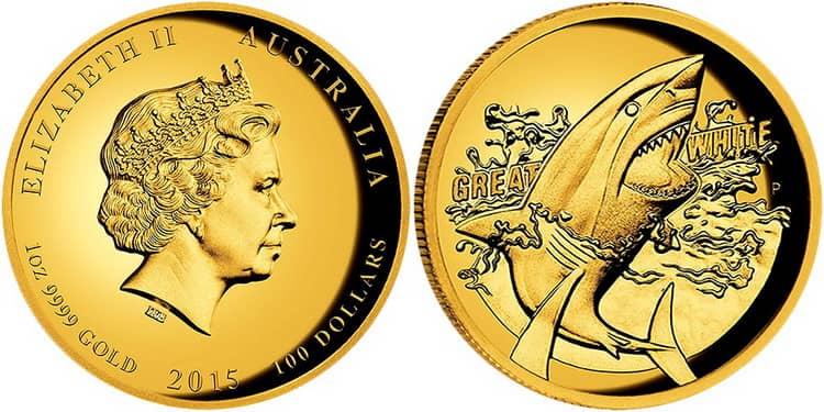 Золотая монета с Белой акулой
