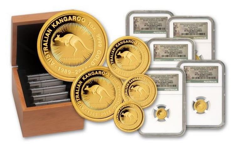 Упаковка монет с кенгуру в деревянном боксе