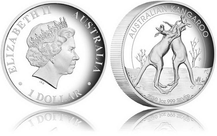 серебряная монета кенгуру Чеканка 2010