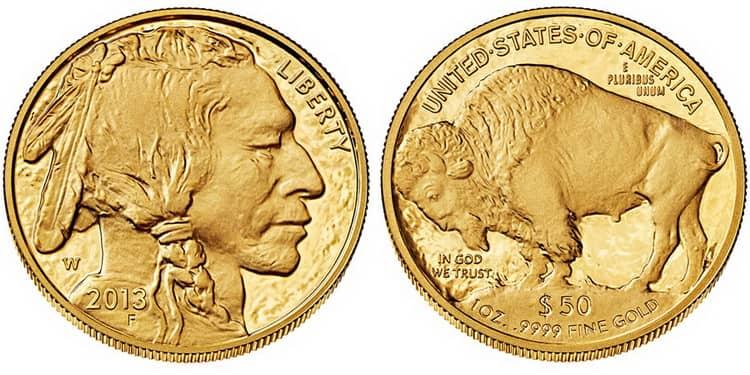 монета 2013г в 50 долларов