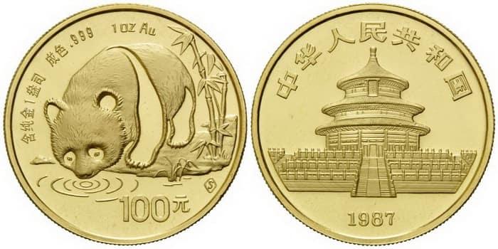 100 юаней из серии золотая панда