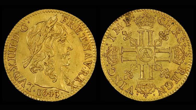 Французские старинные монеты Парижского монетного двора из золота